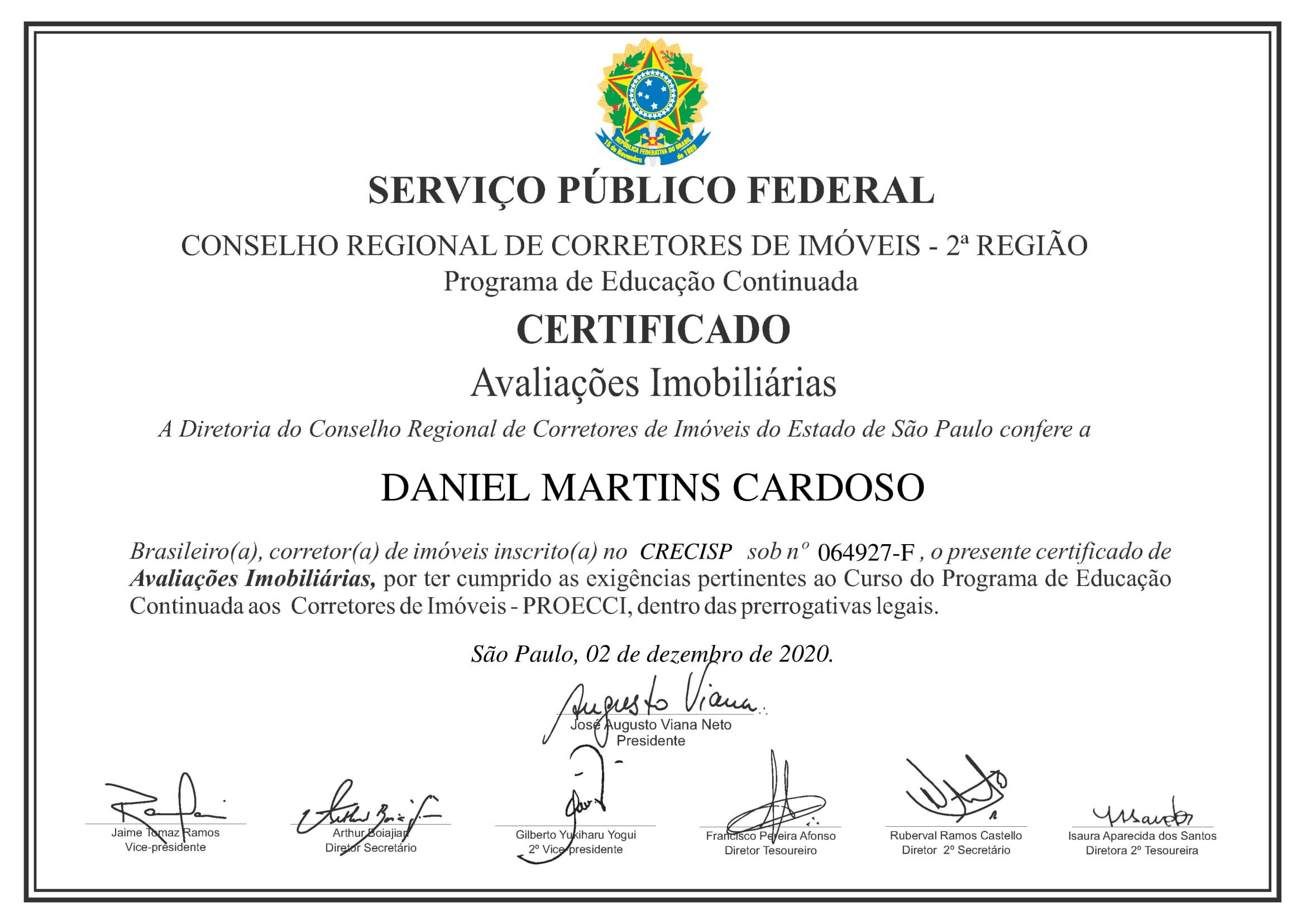 Certificado - Avaliações Imobiliárias