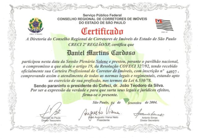 Certificado Corretor de Imóveis - CRECI-SP