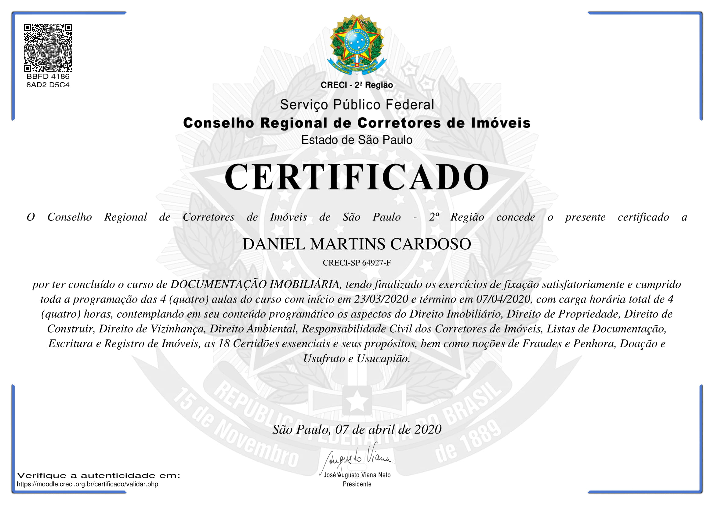 Certificado Curso de Documentação Imobiliária