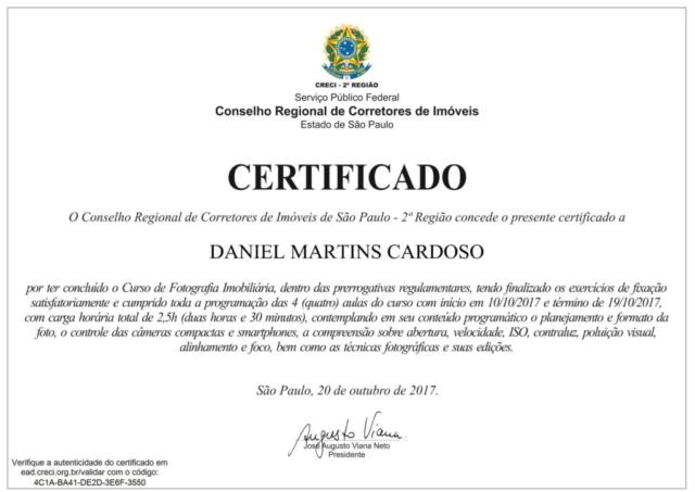 Certificado Curso de Fotografia Imobiliária CRECI