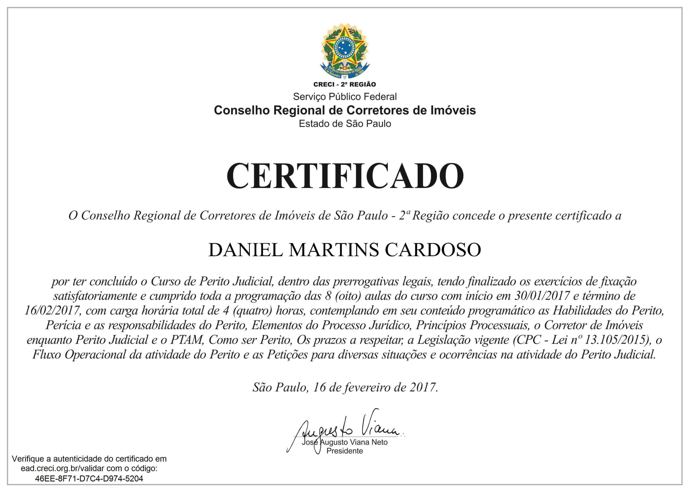 Certificado Curso de Perito Judicial CRECI