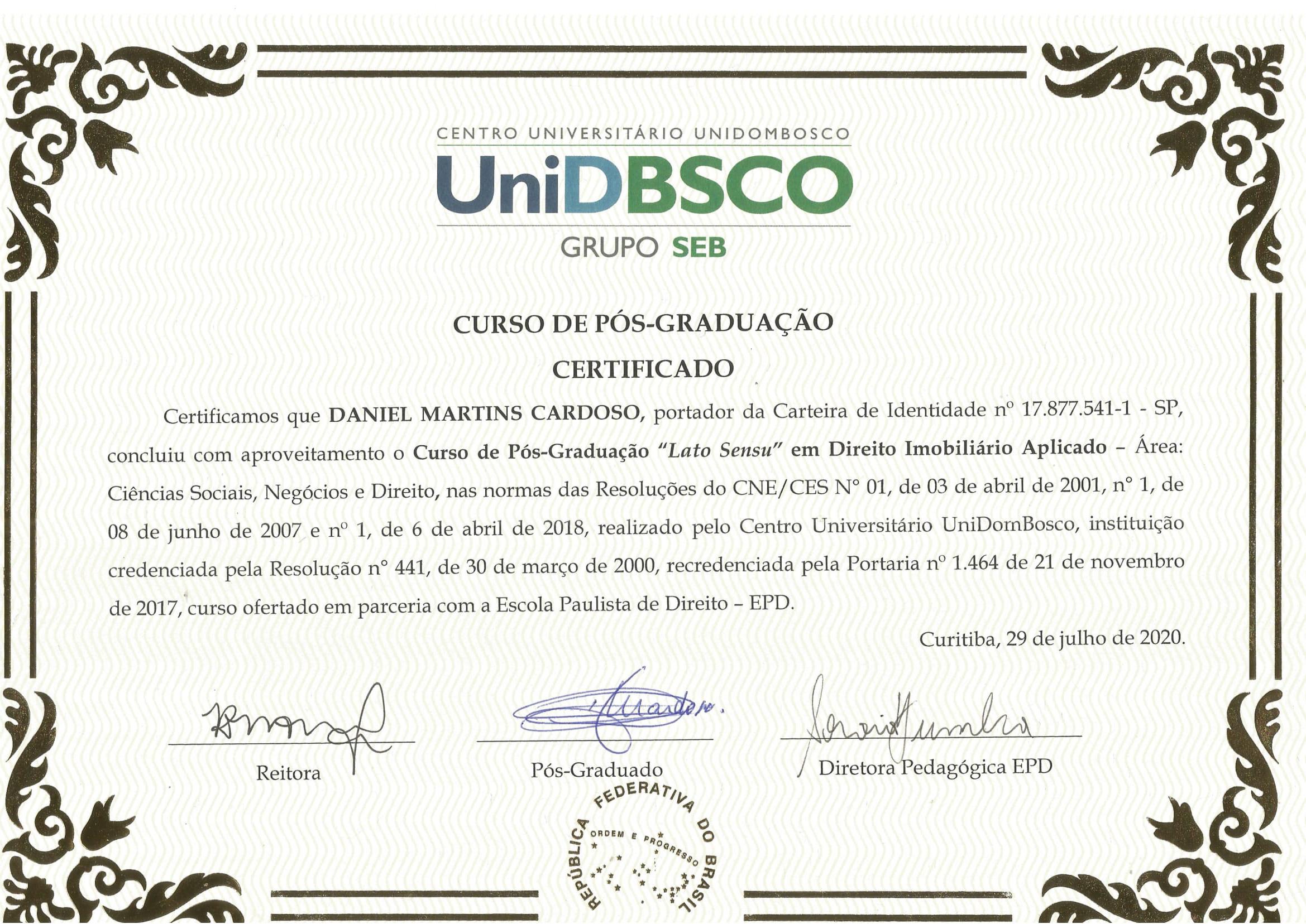 Certificado Pós-graduação - EPD