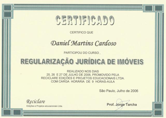 Certificado Regularização Jurídica de Imóveis - Jorge Tarcha