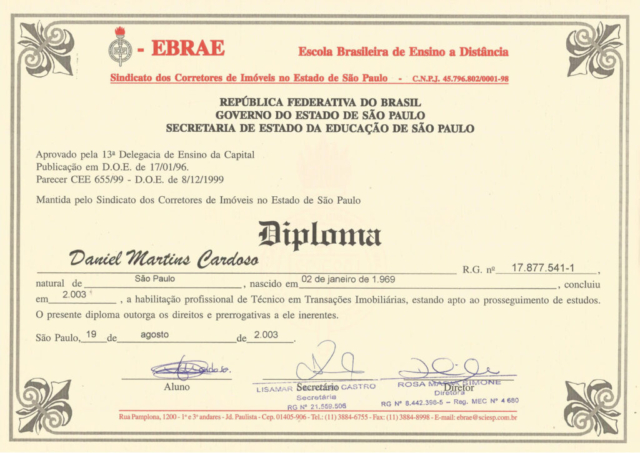 Certificado TTI - EBRAE - SCIESP