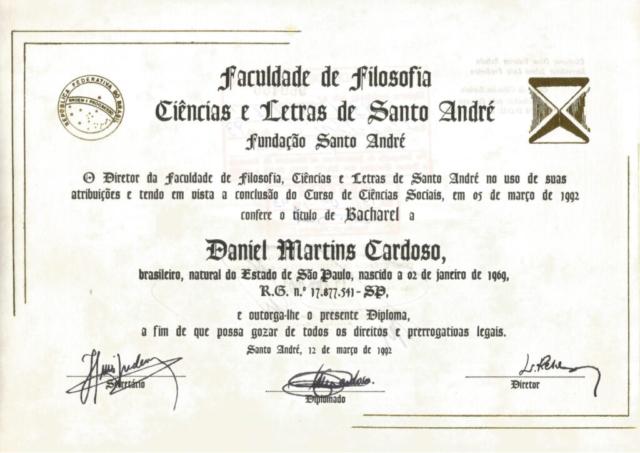 Diploma Bacharel em Ciências Sociais - Fundação Sto André