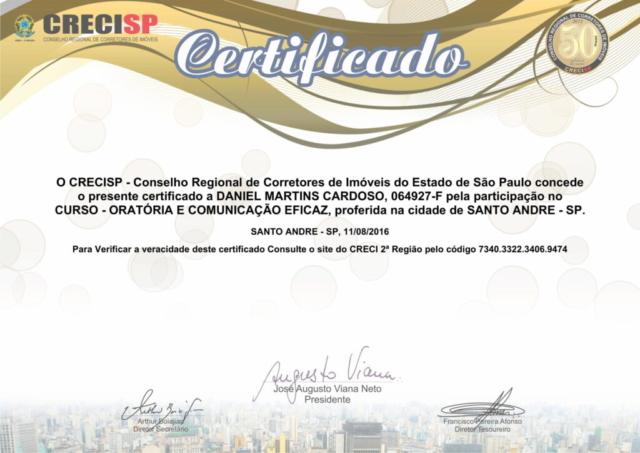 Certificado Curso - Oratória e Comunicação Eficaz